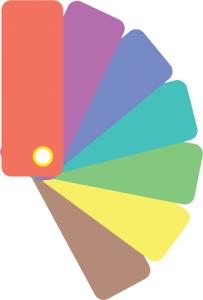 Color samples icon. Flat color design. Vector illustration.